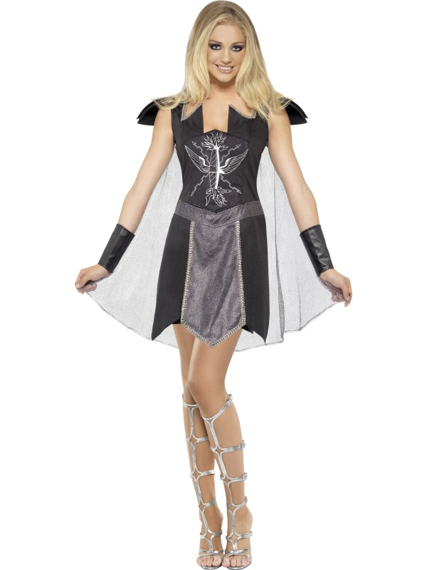 e135916977 Dark Warrior Costume, Black, Dress with Cape and Cuffs